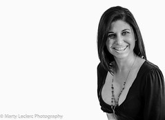 My passion ... (Marty 1955 ...) Tags: studio blackandwhite whitebackground woman cleavage smile face martyleclercphotography eyes breasts dress necklace