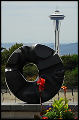 black sun, space needle (D G H) Tags: dgh daveheston seattle isamunoguchi blacksun volunteerpark spaceneedle sculpture art