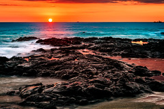 """Hot Lava"" Sunset (jthight) Tags: sand sunset landform vog 2016 hawaii rocks sun konareefresort tidepool seascape on1pics usa pacificocean reflection kilauea boats september clouds nikond810 trees lavarock kailuakona ocean sky beach water boat island waves sea unitedstates coast bigisland afzoom2470mmf28g"