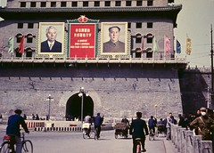 Scene Beijing 1957 (Frhtau) Tags:   line tram by passers leute rikscha car verkehr traffic   historic history buildings architecture street gate china beijing   peoples republic   chn ji  centre city people worker sign chinese place outdoor gebude architektur gabeldach dach zweirad  forbidden eingang entrance wall building propaganda russia visit politic politik portrait mao