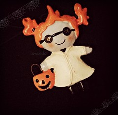 Gearing up for Halloween (Lawdeda ) Tags: halloween is favorite mad scientist hallmark ornament miniature doll fun sunday funday picmonkey