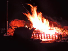 Campfire Kettle (clarkcg photography) Tags: fire firepit rocks grate coals embers flashes sparks kettle night