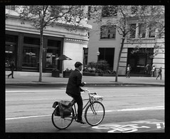 gettin' there (backonthebus) Tags: bicycle bike city street sanfrancisco commuting hip hipster cyclecommute lane nohands building blackandwhite black white package box bikerack