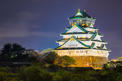 Osaka Castle, Japan (Michael Abid) Tags: osaka castle japan night skyline landmark famous japanese history historical tower white fortress fort asia ngc