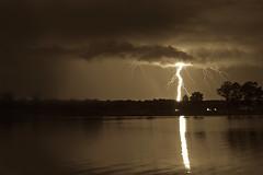 Sepia Lightning (It's my whole damn raison d'etre) Tags: sepia monochrome bw storm lightning strike water trees chesapeake bay saint michaels st md maryland talbot county eastern shore delmarva nikon d800e alex erkiletian