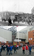 Flagpole Corner, Anfield, 1912 and 2016 (Keithjones84) Tags: liverpool liverpoolfc anfield anfieldroad merseyside thenandnow kop lfc rephotography football stadium