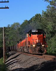 Screaming down Hill (GLC 392) Tags: bessemer lake erie railroad railway train emd sd40t3 u702 u70261 sd383 sd38ac sd382 iron ore pa pennsylvania 910 866 902 harmarville tree code line telephone pole down hill tunnel motor
