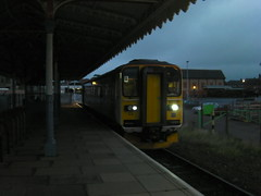 Felixstowe Town Station, with 153335 about to depart on the 16.25 service to Ipswich. 4/11/12 (pnb511) Tags: station train railway felixstowe sprinter class153 greateranglia