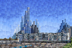 Melbourne 2064 AD: Federation square (thescatteredimage) Tags: collage canon australia federationsquare melbourne victoria southbank montage photomontage rialto eureka 2012 scattered digitalcollage hockneyish hockneyesque thescatteredimage scatteredimage 5dmarkii momentarycollective