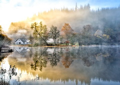 A Canvas on the Loch (PeterYoung1) Tags: autumn trees mist water beautiful canon landscape scotland flickr scenic loch hdr atmospheric ard lochard canon1740 canon5d2