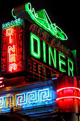 Airline Diner (Gary Burke.) Tags: city nyc newyorkcity urban ny newyork sign night photoshop canon movie eos rebel lights restaurant neon diner queens astoria martinscorsese gothamist hdr goodfellas jacksonhole eatery clasic movielocation photomatix astoriaboulevard grandcentralparkway astoriablvd garyburke cs5 airlinediner t1i canoneosrebelt1i