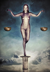 VIII - Justice (wisak) Tags: portrait sky woman art texture strange beautiful statue collage lady clouds digital photoshop finland dark naked nude cards photography major photo justice european magick peace contemporary surrealism magic pillar feather surreal calm inner card scales tarot balance serene balanced mystic tiptoe arcana 2012 subtle pristine majorarcana divination
