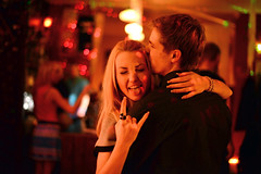 Andris and Diana @ Mojo Cafe (Pavels Dunaicevs) Tags: group people dancing dance night evening event party disco place bar pair couple man woman guy girl together fun happy smiling kissing dark red vivid riga latvia music nikon nikkor d600 50mm 16 cool joy nightlife tongue showing