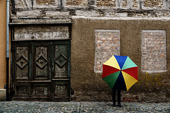 No Window Shopping Today (mpiet) Tags: street old city house rain umbrella alt haus front stadt regen fassade fachwerk fachwerkhaus regenschirm timberframing halftimberedhouse strase