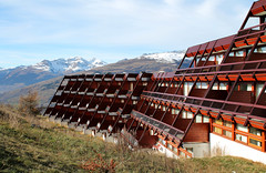 Arc 1600, Bourg-Saint-Maurice, France (SpaceLightOrder) Tags: wood ski tourism architecture holidays timber modernism charlotteperriand stepped bourgsaintmaurice skistation arc1600