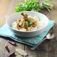 Goan Coconut Chicken Curry (abrowntable) Tags: food hot chicken recipe bay leaf chili rice coconut indian goa curry spicy cilantro goan kashmirichilies