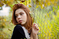 (Ole Lukoie) Tags: autumn portrait fall love nature girl beauty smile face leaves couple bokeh naturallight lovers autumncolors melancholy redhair lovestory inlove  50mmf14  melancholia        beautifullgirl   beautifulllight
