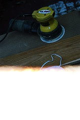 00540001-84 (jjldickinson) Tags: olympusom1 fujicolorsuperiaxtra400 roll396 promastermcautozoommacro2870mmf2842 promasterspectrum772mmuv wrigley wood cherry board printmaking woodblock mokuhanga woodgrain ganahllumbercompany dewalt sander randomorbitalsander powertool leader longbeach