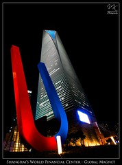 Shanghai's World Financial Center - Global Magnet |  -  (VK | Photography) Tags: china city blue light red white tower lines night skyscraper dark nikon neon shanghai angle south north jin wide sigma mao 1997 tall mm   pudong 2008 1020 magnet worldfinancialcenter wfc 2012 swfc kohnpedersenfox f456 sigma1020mmf456 d80  hyattpark  mygearandme mygearandmesilver