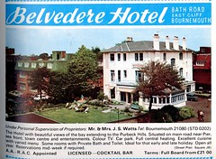 BELVEDERE HOTEL. BATH RD. BOURNEMOUTH. DORSET. 1973 (BOURNEMOUTH GRANT TOO) Tags: road uk england tourism hotel bath dorset belvedere guide bournemouth 1973 rd bathroad bathrd belvederehotel