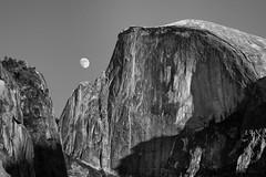 When the moon hits your eye like a big..... (Sonora Guy) Tags: california november blackandwhite moon unitedstates moonrise halfdome yosemitenationalpark gpsetest