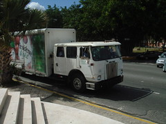 Volvo White beer truck with a big cab (RD Paul) Tags: white volvo dominican republic international dominicana trucks mack domingo santo repblica scania malecn kenworth camiones