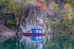 Small Fishing Boat (Irene Becker) Tags: fall water boat fishing serbia autumnleaves balkan drina taramountain podrinje zlatibordistrict kanjondrine perućaclake taraplanina imagesofserbia taranacionalnipark rastište drinacanyon kanjondervente подриње
