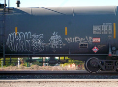 HBAK WASN'T HERE? (QsySue) Tags: railroad digital train lumix graffiti tag nevada traintracks panasonic traincar pointandshoot digitalcamera tanker railroadtracks railroadcar digitalpointandshoot hbak hbakwasnthere panasoniclumixdmczs8