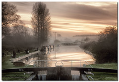 Crofton (lovestruck.) Tags: uk autumn light england cold reflection water sport misty canal fishing afternoon fishermen foggy navigation waterway towpath bankside wintery crofton pumpingstation narrowboats 20012 kennetavoncanal cy2 challengeyouwinner wiltshre wiltonwater