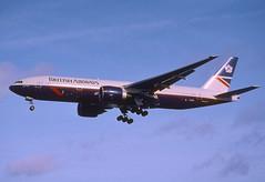 158ch - British Airways Boeing 777-236; G-ZZZD@LHR;27.10.2001 (Aero Icarus) Tags: plane aircraft flugzeug britishairways avion lhr slidescan boeing777 londonheathrow gzzzd landorcolours luftfahrtsvehikel