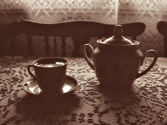 Coffee for those old days... (m.šitake) Tags: film coffee sepia 35mm canon grain