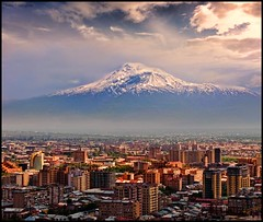 Mount Ararad & Yerevan City   (Sako Tchilingirian) Tags: noah blue autumn winter light sunset sky sun mountain inspiration fall tourism church architecture clouds century canon effects photography photo nikon view minolta g religion panoramic best historic holy fantasy armenia historical imagination christianity monuments yerevan hdr 2012 armenian ararat sako illuminator      ararad         tchilingirian
