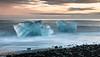 Blue Ice At Sunset (Kristinn R.) Tags: sunset sea sun ice blacksand iceland nikon jökulsárlón d3x nikonphotography breiðamerkursandur kristinnr