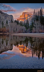 """How Glorious a greeting the sun gives the mountains!""  John Muir (jeannie'spix) Tags: california reflection yosemite halfdome jsm coth basecamp6 yosemitefavorite yosemiteflickr halfdomeglow"