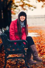 Ready For Autumn (www.karlocamero.com) Tags: travel family autumn friends red portrait orange camero girl leaves japan vertical lady female canon bench boots jan earth mark longhair jacket ii 5d osaka bonnet effect orton 2012 karlo  karlocamero