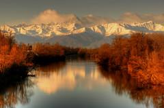 Po river & Monviso (rinogas) Tags: italy sunrise alba piemonte cuneo alpi photomix poriver monviso fiumepo alpicozie casalgrasso rinogas