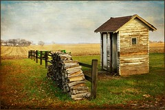 Double Outhouse! (keeva999) Tags: autumn fall texture abandoned rural fence nikon farm country rustic iowa outhouse hss d3200 memoriesbook distressedjewell