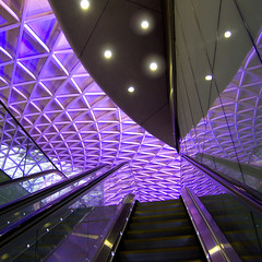 STAIRWAY TO HEAVEN (Jane Legate) Tags: roof london square lights purple escalator kingscross modernarchitecture powershots95 janelegate