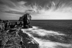 Pulpit Rock B&W (pietkagab) Tags: pulpitrock isleofpotland portland dorset england britain uk bw nd 10stops filter longexposure landscape water waterscape sea storm pietkagab piotrgaborek photography pentax pentaxk5ii travel trip sightseeing adventure