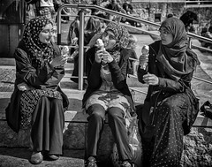 ice cream in bristol (Daz Smith) Tags: dazsmith canon6d bw blackwhite blackandwhite bath city streetphotography people candid canon portrait citylife thecity urban streets uk monochrome blancoynegro women sat sitting eating icecream bristol harbour