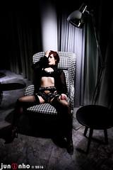 Harley Monster, Manchester, 2016... (SnapperJuninho) Tags: harleymonster beauty allure glamour glamorous colour heels highheels highkey highgloss nylons nylonsandheels garters lingerie reclined chair spotlight