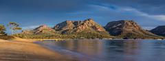 The Hazards Pano (robertdownie) Tags: park trees sunset water beach pink bay australia national granite peninsula tasmania hazards coles freycinet richardsons