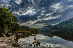 Llyn Gwynant (amysummers) Tags: sky cloud clouds lake water trees green blue black shadow hdr canon 5d mark 3 eos reflection mountains hills shore stones rocks pebbles pic picture photo photograph photography photographer amy summers image camera north wales uk west sun rays