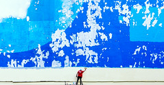 Almost Done... (marcin baran) Tags: blue wall damaged old painting paint painter job work street streetphotography minimalistic minimal minimalist aweome pov scale urban city gliwice poland polska marcinbaran fuji fujifilm x100 x100t shades building architecture man human person working element factor