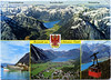 postcard - Maurach, Germany (Jassy-50) Tags: postcard maurach tirol germany alps mountains achensee lake boat aerial cablecar tram multiview older