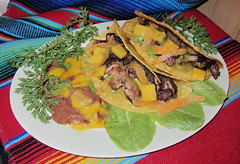 Tacos-Carnitas_de_Puerco (Guyser1) Tags: food mexicanfood tacos carnitas frijolesrefritos westyellowstone canonpowershots95 pointandshoot