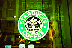 Great Marlborough Street (cranjam) Tags: uk london film window coffee sign logo cafe lomo lca xpro lomography fuji soho slide starbucks fujifilm londra siren sensia100 greatmarlboroughstreet twintailedmermaid