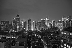 Skyline - B&W (CAUT) Tags: street city nyc newyorkcity longexposure trip viaje bw usa ny newyork building rooftop skyline architecture night hotel noche us calle arquitectura nikon nocturnal unitedstates terrace manhattan edificio ciudad bn september midtown septiembre le nocturna hellskitchen 2012 estadosunidos nuevayork midtownmanhattan largaexposición largaexposicion d90 caut presslounge nikond90 ink48 ink48hotel thepresslounge