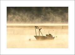 Autumn Morning (Chris I.) Tags: morning mist silhouette fog boats goldenhour photorun waquoitbay fz150