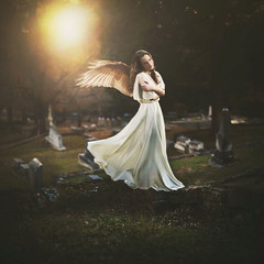 The Collector of Lost Souls (Shelby Robinson) Tags: light portrait white girl grave graveyard field grass rock angel canon rebel 50mm heaven dress 14 tombstone teenage t1i